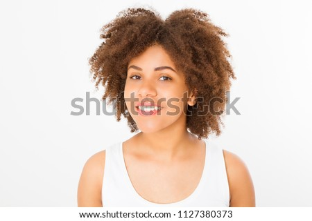 Portrait of young afro american woman isolated on white background. Template shirt and summer concept. Copy space. Mock up. Nature beauty girl. Teenager Make up #1127380373