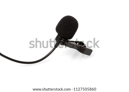 Condenser lavalier tie clip microphone, tool isolated on white background, macro