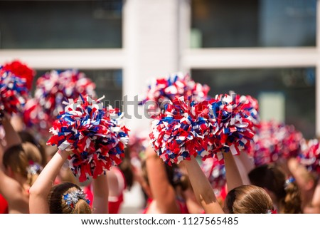 American Cheerleader, Red White and Blue Pom Poms Fourth of July #1127565485