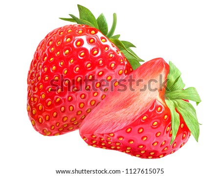 Strawberry isolated on white backdrop. Berry with cllipping path function. #1127615075