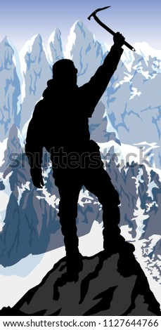 vector alpinist mountaineer with ice axe on the top of mountain