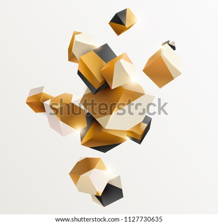 Abstract golden composition with 3d cubes #1127730635