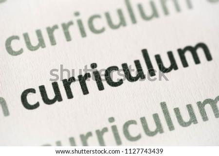 word curriculum printed on white paper macro #1127743439