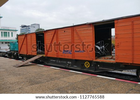 Cambodia, Nov 5th 2016. On Cambodian railways a goods wagon is used to transport motorcycles from Phnom Penh to Sihanoukville and stations in between. #1127765588