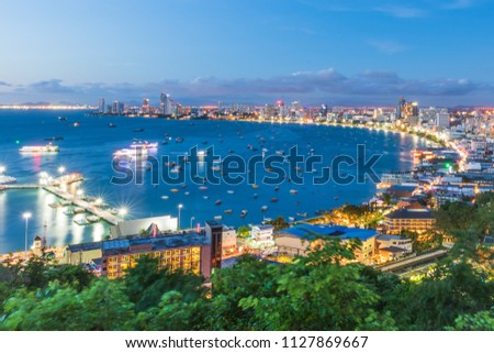 Night view of pattaya city beach during sunset at Pratumnak Viewpoint, Pattaya Thailand. #1127869667