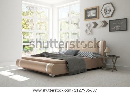 White bedroom with summer landscape in window. Scandinavian interior design. 3D illustration #1127935637