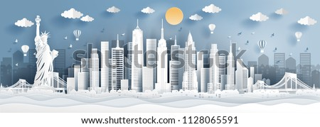 Panorama of top world famous landmark of New York city, America for travel poster and postcard, in paper cut style vector illustration. #1128065591