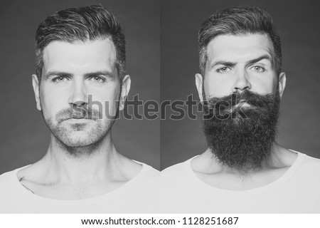 Before shaving and after. Collage portrait of one handsome man on left bristle haired on right unshaved with long beard and moustache looking forward on grey background, horizontal picture