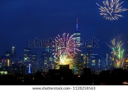 Independence Day fireworks above the Manhattan skyline #1128258563