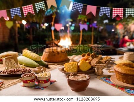Table of brazilian festa junina. #1128288695