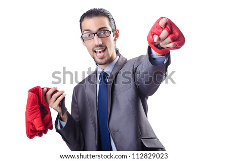 Funny businessman with boxing gloves #112829023