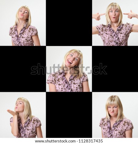 Crazy blonde woman makes squint for fun #1128317435