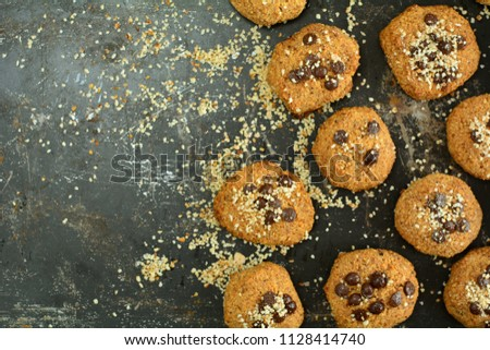 Chocolate Chip Cookies with Almonds #1128414740