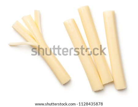 String cheese isolated on white background. Top view #1128435878
