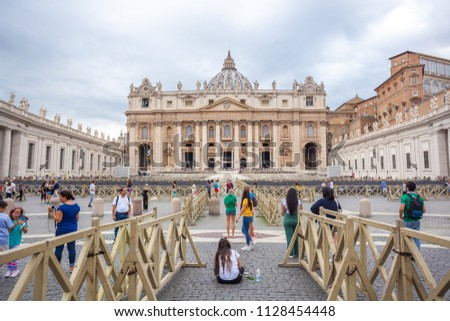 Rome, Vatican, Italy - 23.06.2018: St. Peter's Basilica in St. Peter's Square, Vatican City. #1128454448