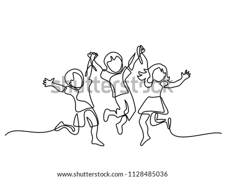 Happy jumping children holding hands. Continuous line drawing. Vector illustration on white background