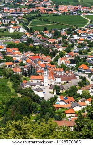 Summer view to little town in Wachau valley near Krems, Lower Austria. #1128770885