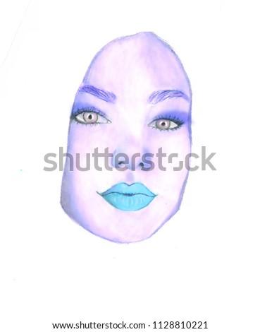 girl illustration hair face  #1128810221