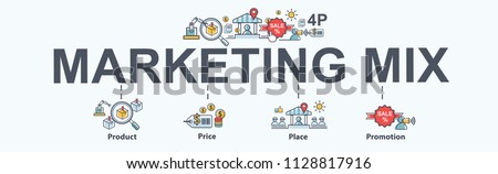 Marketing mix 4P banner web icon for business and marketing, price, place, promotion, product. Minimal vector infographic. #1128817916
