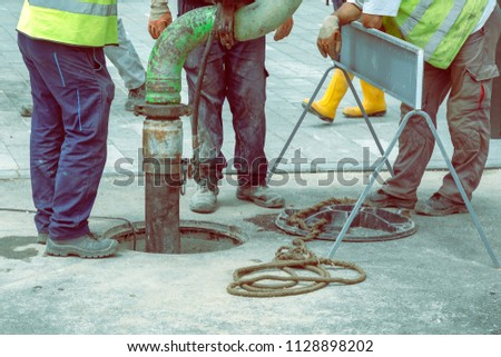 Sewer Lines Cleaning Service. Unblock a drain. Cleaning blocked sewer. Color effect. #1128898202