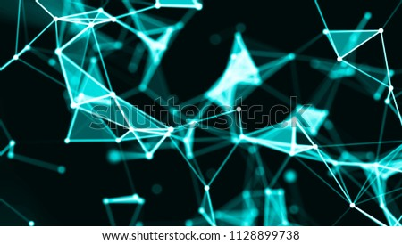 Abstract digital background. Big data visualization. Network connection structure. Science background. 3D rendering. #1128899738