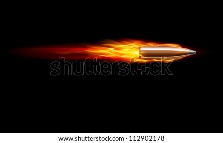 Moving Red Fiery Gun Bullet Shot. Illustration on black