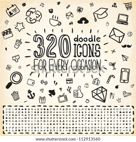 320 Vector Doodle Icons Universal Set #112913560