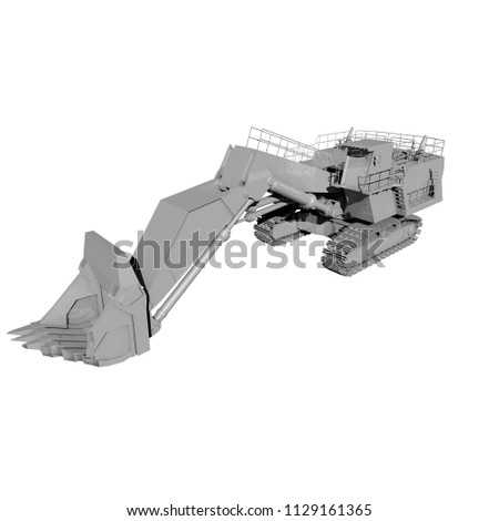 3D rendering. 3D illustration. prototype model. tractor model isolated on a white background. transportation. #1129161365