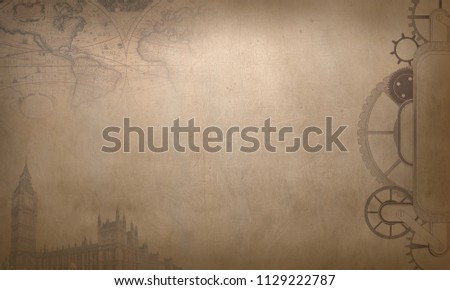 Steampunk vintage background with cogs and gears on canvas paper #1129222787