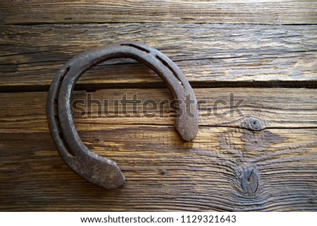 Horse horseshoe - a symbol of happiness. Closeup, on old wooden boards                            #1129321643