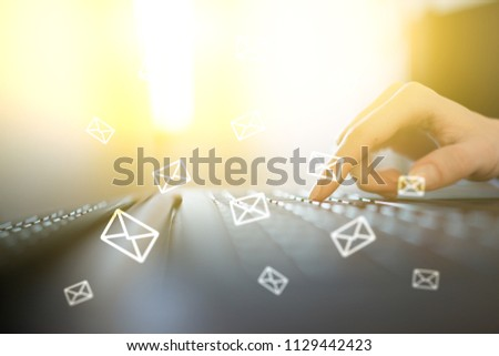 Messages icons on virtual screen. Communication concept. #1129442423