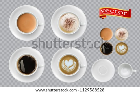 Coffee top view. Mugs with espresso cappuccino cocoa americano. Easy to edit 3d realistic vector illustration. Set of Coffee Cup - Mockup template for Cafe, Restaurant brand identity design.  #1129568528