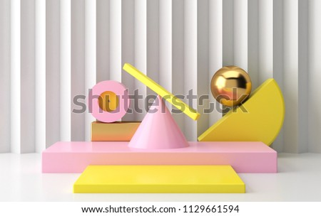 Scene with geometrical forms  #1129661594