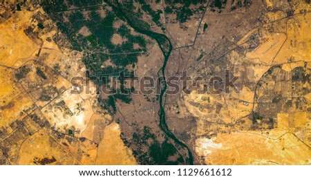 High resolution satellite image of Cairo and nile river delta from above, Egypt, aerial view, natural background map, contains modified Copernicus Sentinel data [2018]