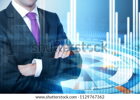businessman crossing hands at cyber reality and financial graphs background #1129767362
