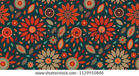 Powerful geometric bright vector pattern with leafs, dots and flower elements, seamless repeat. Great for wallpaper, fabric design, backgrounds, wrapping paper, home decor, scrapbooking etc.