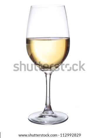 Wineglass with white wine. Concept and idea #112992829