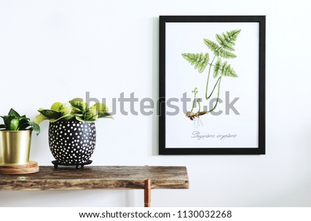 Stylish and modern scandinavian room with wooden console, mock up poster frame and beautiful plants. Design composition of home interior. #1130032268