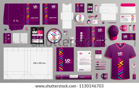 Purple corporate identity template design with color geometric elements. Business stationery Royalty-Free Stock Photo #1130146703