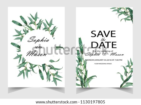 Wedding Invitation, floral invite thank you, rsvp modern card Design #1130197805