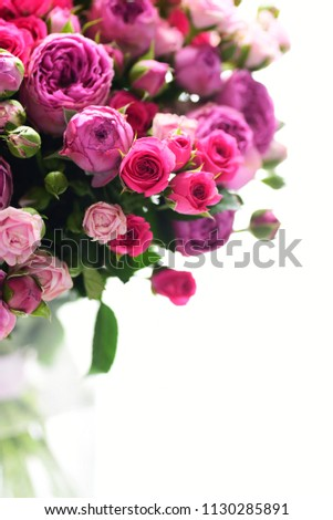 colorful bouquet of pink roses #1130285891