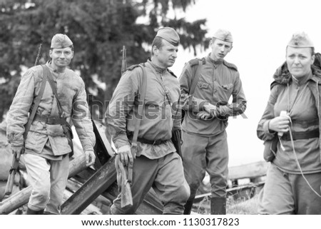 MINSK, REPUBLIC OF BELARUS - JULY 2, 2018: Military combat reconstruction, Operation Bagration during World War II. Russian soldiers and equipment on the battlefield #1130317823