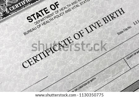 Birth Certificate for live baby born  #1130350775