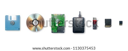 Set of equipment for storage information and transfer or backup data, The devices for store data are Floppy disk, Compact disc, Hard Drive, External Hard Disk, Flash Drive, SD Card and Micro SD Card. #1130375453