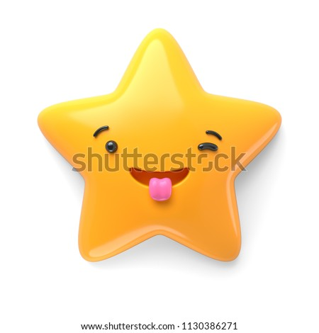 3d render, abstract emotional star icon, excited character illustration, wondering, awaiting, cute cartoon star, emoji, emoticon, toy
