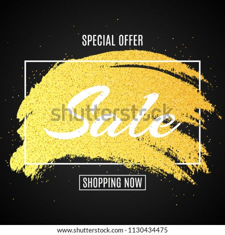 Web banner for sale. Golden grunge line with glitters. Dark background. Big discounts. Special offer. Background for your project. Vector illustration. EPS 10 #1130434475