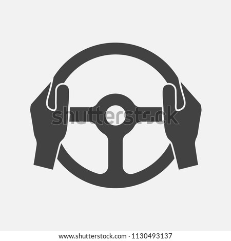 Vector icon of car steering wheel and driver's hands. Layers grouped for easy editing illustration. For your design. #1130493137