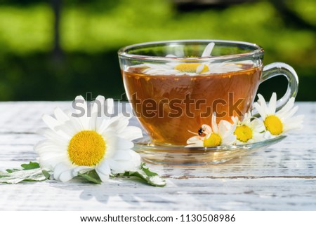 A cup of tea standing on a wooden, white table, in the flowers of the daisy field, to which the ladybug flew. #1130508986