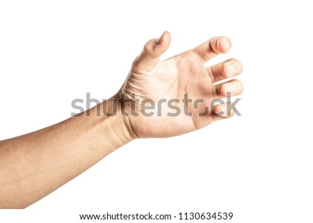 Close up hand holding something like a bottle or can isolated on white background with clipping path. #1130634539