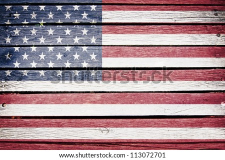 USA, American flag painted on old wood plank background